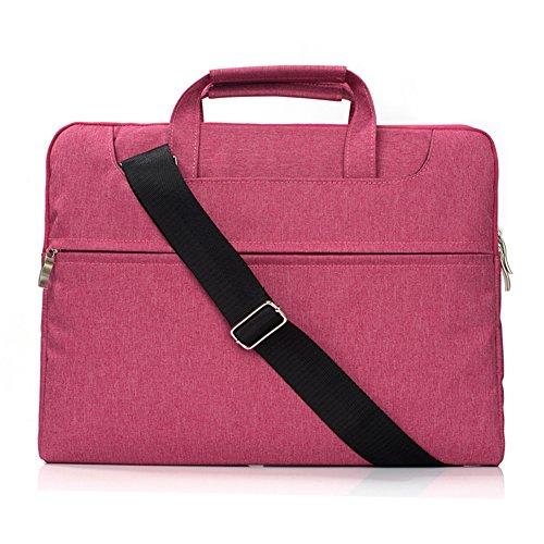 FuriGer 13-13.3 Inch Laptop Bag, Shoulder Bag Briefcase Sleeve Case for 13' MacBook Surface MacBook Air 13 MacBook Pro Retina 13 Late 2012-2015 Laptop Ultrabook Notebook MacBook-Hot Pink
