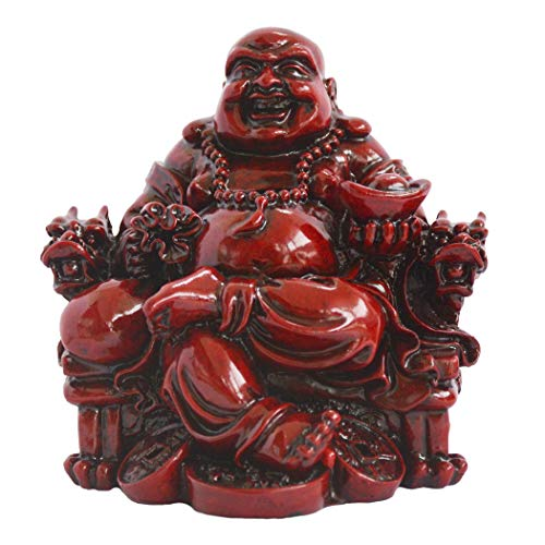 Addune Feng Shui Chinese Laughing Buddha Sitting on Dragon Chair Sculpture Handicrafts Resin Wealth Happy Lucky Statue for Home Decoration Gift (Dark Red, Polyresin)