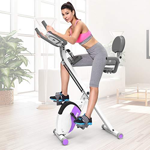 Cyclette da Casa Pieghevole con Schienale Spin Bike Bici da Spinning 20kg Volano Cyclette Silenziosa Display LCD Sedile E Pedali di qualità