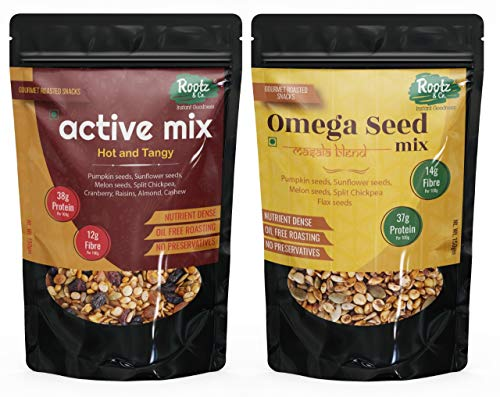 Ready to Eat Active Seed Mix & Omega Seed Mix Trail Mix with Super Seeds & Dry Fruit Mix - 300gms ( Assorted Pack of 2x150g)