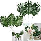 YQing 12 Stück Künstliche Palmenblätter Stielen mit 12 Stück Palmenblätter Künstliche, Tropische Pflanzen Gefälschte Tropische blätter für Hawaii Party Fest Dekoration