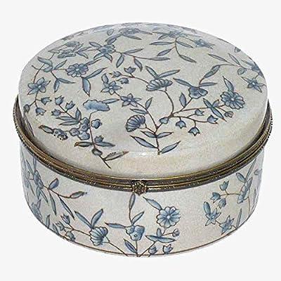 Better & Best Grande P Azules Caja Redonda Flores, Medidas 13x13x7 cm, Material: Ceramica: Amazon.es: Hogar