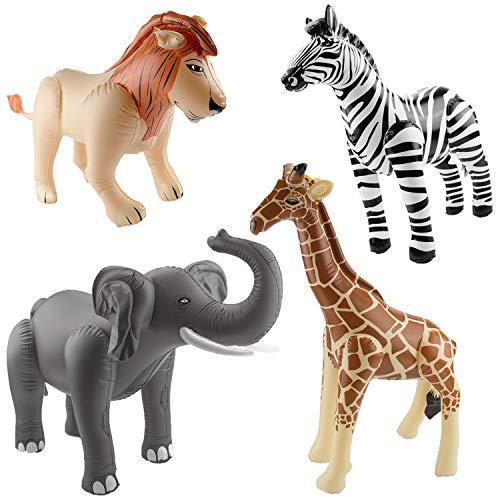 cama24com Aufblasbarer Elefant, Löwe, Giraffe und Zebra als Partydekoration für den Kindergeburtstag oder die Mottoparty mit Palandi® Sticker
