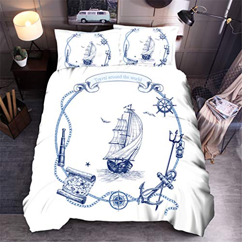 MXSS 3D Duvet Cover Bed Sea Sailing Bedding Set Single Double King Bed for everyone Teens Pattern with Pillowcases Quilt Cover with Zipper Closure 100% Microfiber (Sailboat2,Double)