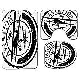 3Pcs Alfombra de baño antideslizante Juego de tapa de asiento de inodoro Vintage Airplane Suave antideslizante Alfombrilla de baño Diseño de sello de grunge con Word Aviation y Siluetas de avión, Viol