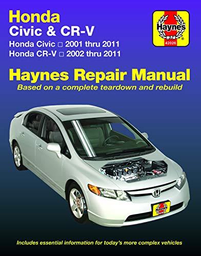 Haynes Honda Civic 2001 thru 2011 & CR-V 2002 thur 2011 Repair Manual (Haynes Automotive)