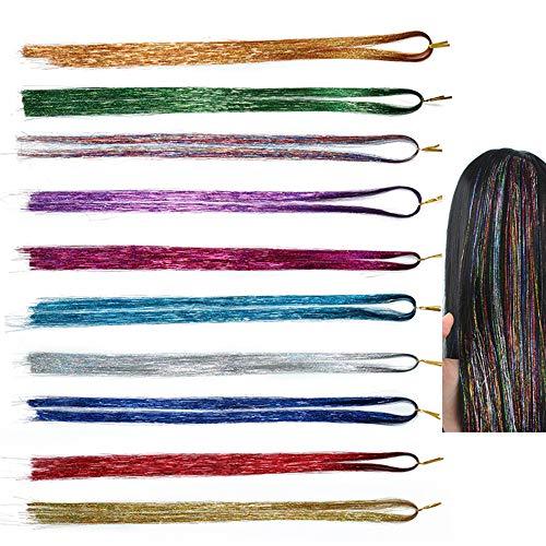 Lezed Haar Lametta Extensions Lametta Glitzer für haare Farbiger Haarverlängerungs Extensions Haarsträhnen Multi-Farben Haar Streifen Haarteile Colored für Party, festivals 93cm 10 Farben