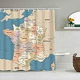 QINCO Duschvorhang,Frankreich Karte Vintage Land Lyon Detaillierte dunkelrote Bordeaux Business Finance Geografische Bildung,personalisierte Deko Badezimmer Vorhang,mit Haken,180 * 210