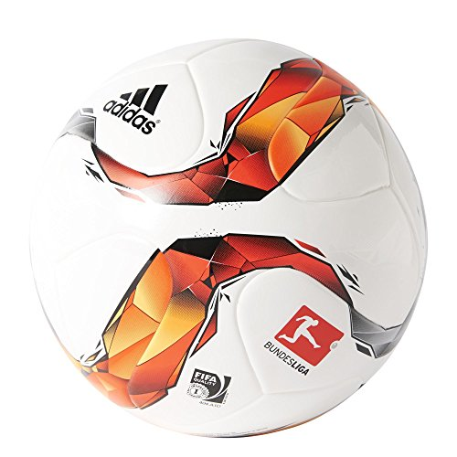 adidas Männer Trainings-Fußball Torfabrik, White/Black/Silver Met/ Solar Red-/Gold/Orange, S90212