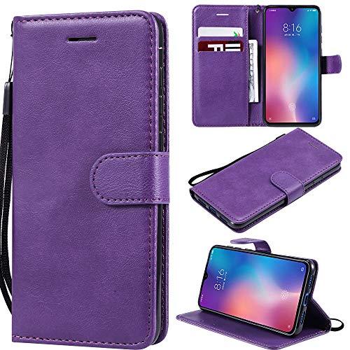 Capa compacta para Xperia XZ1, carteira de couro PU com suporte para cartão de crédito, capa interna de TPU (poliuretano termoplástico) macia para Sony Xperia XZ1 Compact - roxa