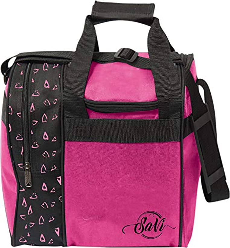 SaVi Pink Hearts Single Bowling Bag- 1 Bowling Ball Single Tote w/Adjustable Shoulder Strap- Fits Single Pair of Women's Bowling Shoes up to Size 11