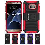 Galaxy S7 Stand Case, HLCT Rugged Shock-Proof Dual Layer PC and Soft Silicone Case with Built in Kickstand for Samsung Galaxy S7 (2016) (Red)