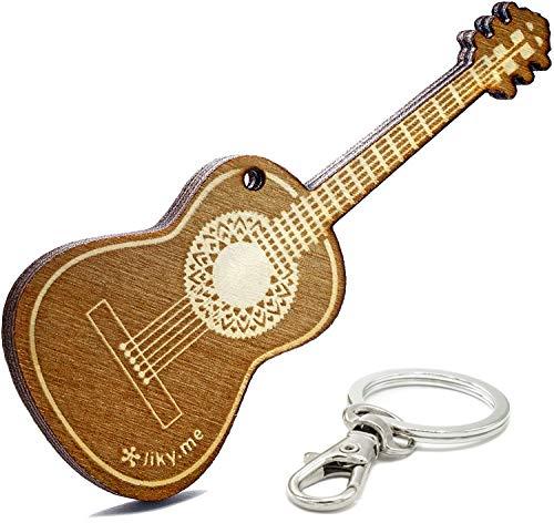 LIKY® Gitarre - Schlüsselanhänger aus Holz mit Gravur Geschenk für Herren und Damen Geburtstag Vatertag Muttertag Anhänger für Tasche und Rucksack