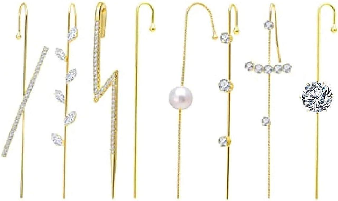 NEWCOMDIGI 8 Pcs Ear Cuff Crawler Hook Earrings Piercing Ear Wrap Gold Pearl Cubic Zirconia Hoop Earrings Gift for Women & Girls Wedding
