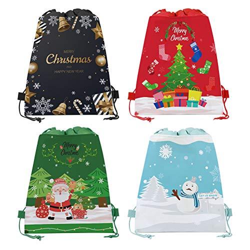 12Pz Bolsas Grandes de Regalo de Navidad con Cintas Mochila de regalo grande de Santa Sack Envoltura de Regalos Navidad Bolsas Suministros de fiesta de Navidad,Bolsas de regalo de Año Nuevo