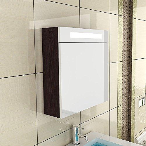 Armario con espejo de S 60/armario con espejo con iluminación/mueble de baño/Wengué/cuarto...