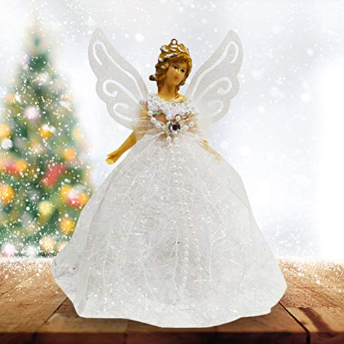 Knowoo Tree Top Angel, Christmas Tree Pendant Doll Fabric Angel Christmas Tree Topper Mini Angel with Feather Wings for Christmas Decorations