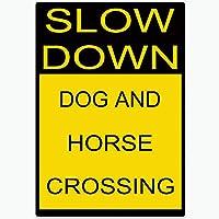 警告サイン犬と馬の交差ヴィンテージブリキの看板パブダイナーカフェホームバー装飾