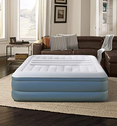 """Simmons Beautyrest Lumbar Lux Express Adjustable Tri-Zone Support Air Bed Mattress with Built-in Quick Pump, 18"""", Queen"""