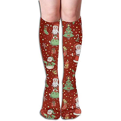 NA Kerstmis patroon mode nieuwigheid Over-The-Calf Crew sokken (zwart).