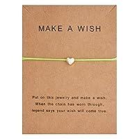 B70ファッションシンプルな願い事紙カードハート織アジャスタブルロープブレスレット銅のチェーン女性ジュエリーギフト