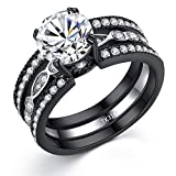 MABELLA CZ Black Wedding Band Engagement Ring Sets Stainless Steel Round Cut Cubic Zirconia Size 6