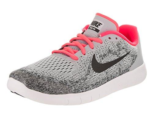 Nike Kids Free Rn 2017 (GS) Wolf Grey/Black/Racer Pink Running Shoe 7 Kids US