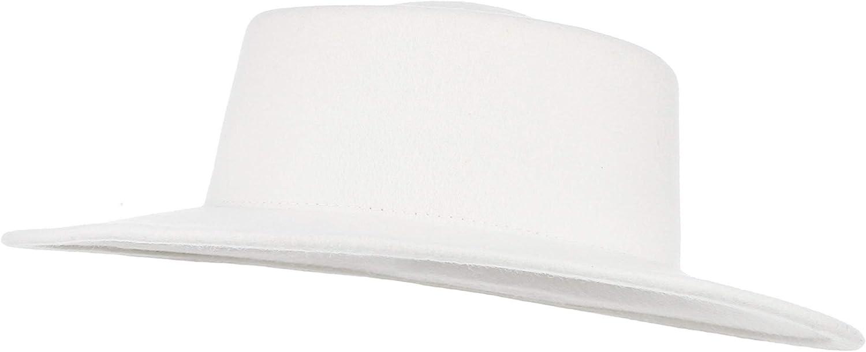 GEMVIE Unisex 100% Wool Fedora Hat Wide Brim Porkpie Trilby Hat Crushable Boater Derby Wool Hat