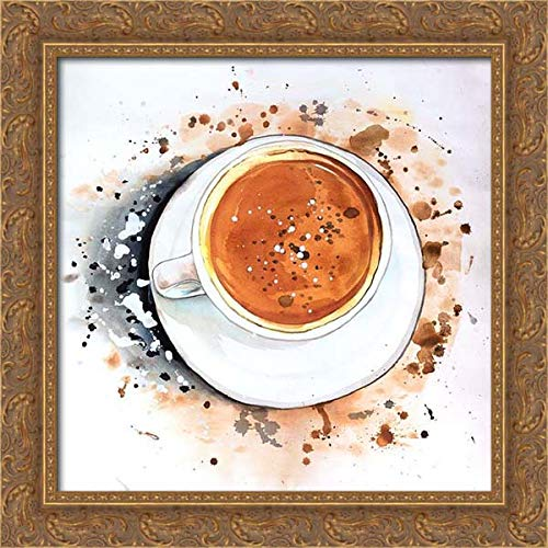 Atelier B Art Studio 21x20 Gold Ornate Framed Canvas Art Print Titled: Overhead View of A Cappuccino Cup