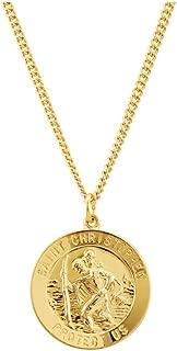 24K Gold Plated 925 Sterling Silver 25mm St. Christopher Medal 24