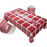Patrón De Cuadros Rojos Poliéster Mantel Impermeable Mantel Rectangular Mesa De Centro Cuadrada Mantel Decoración Mantel De Cocina Fiesta De Navidad para Interiores Y Exteriores 90x140cm