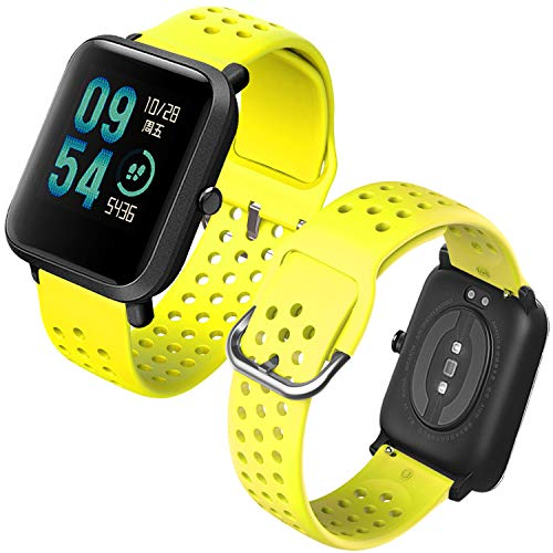 Th-some Cinturino di Ricambio per Amazfit GTS Smartwatch,Cinturino di Ricambio in Silicone Compatibile con Xiaomi Huami Amazfit GTS/Amazfit Bip/Amazfit GTR 42mm(Giallo)