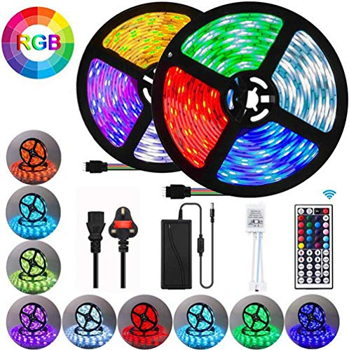 Waterproof LED Strip Lights, 32.8ft RGB 5050 LEDs Color Changing Full Kit with 44key Remote Control and Power Supply Mood Lamp for Room Bedroom Home Kitchen Indoor Decorations