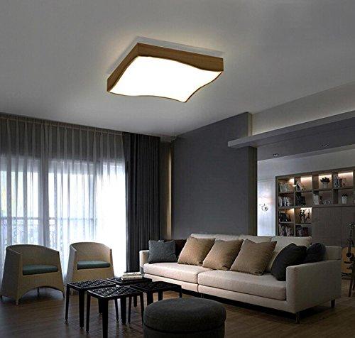 AMZH Natural Madera sólida LED 18W Luz de Techo Cuadrado Luz Sala de luz de la habitación Luz de Madera Creativa 32 * 32cm 220V