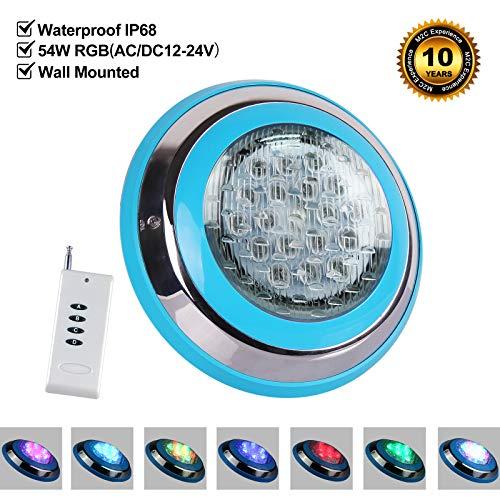Roleadro Direkt Unter Wasser Gelegt 54w LED Poolbeleuchtung RGB IP68 Edelstahl Schale,Unterwasser Led Pool mit Fernbedienung für Schwimmbad ersatz 250W Halogen Scheinwerfer [DC/AC 12-24V]