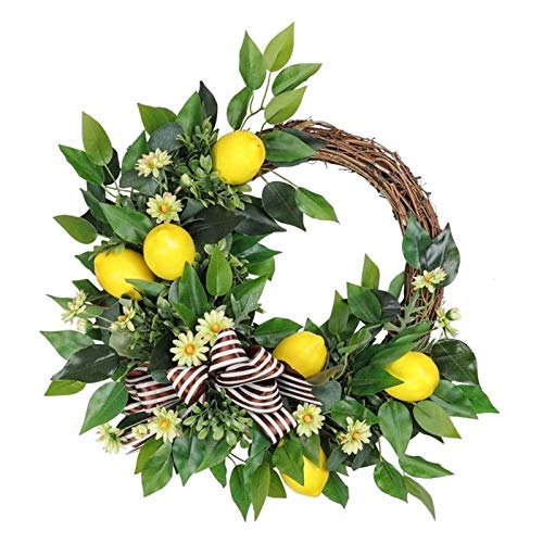 WODEJIA 20 Inch Wreath Artificial Lemon Garland for Home Party Indoor Outdoor Window Wall Wedding Decoration Wreath