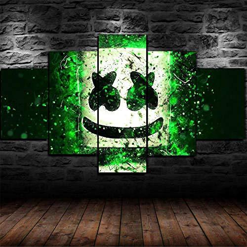 MENGLE Cuadro Decoración Arte Pared Salon Abstractos Hogar Moderno-Impresión En Lienzo 5 Piezas XXL-Mural No Tejido Impresión Artística Imagen Gráfica Regalo Navidad Concierto Live DJ 125X60Cm