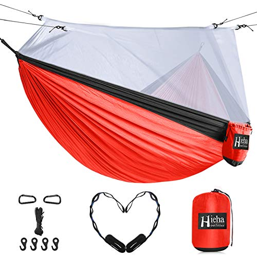 Hieha Double Camping Hammock with Mosquito Net, Portable Nylon Hiking Hammocks for Trees, Travel Outdoor Gear Camping Essential Hammock for 2 Adults(Red)