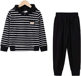 amropi Ragazze 2 Pezzi A Righe Abbigliamento Set Cappuccio Felpa e Jogging Pantaloni Inverno Tuta per 4-15 Anni