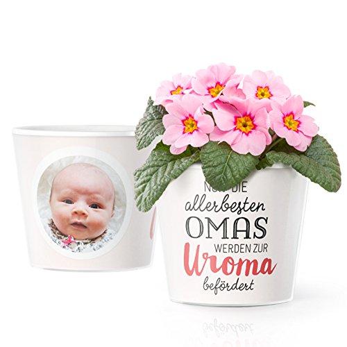 Facepot Baby Uroma Geschenke - Blumentopf (ø16cm) für werdende Urgroßmutter mit Bilderrahmen für Zwei Fotos (10x15cm) | Nur die allerbesten Omas Werden zur Uroma befördert
