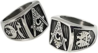 Masonic Rings for Sale - 32nd Degree Scottish Rite and Shriner Ring with Square and Compass on Top. Stainless Steel Mason's Jewelry Ring