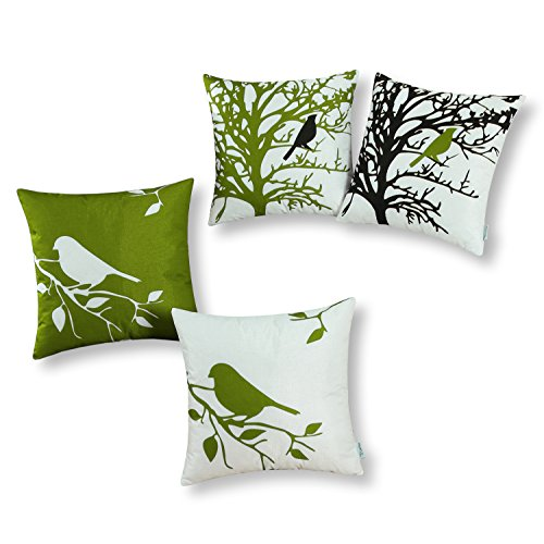 CaliTime Set of 4 Soft Canvas Throw Pillow Covers Cases Couch Sofa Home Decoration Shadow Bird Tree Branches Silhouette 18 X 18 inches Olive Green