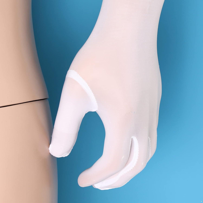 Moily Men's See Through Sheer Mesh Full Finger Long Gloves Stockings Party Mittens Clubwear