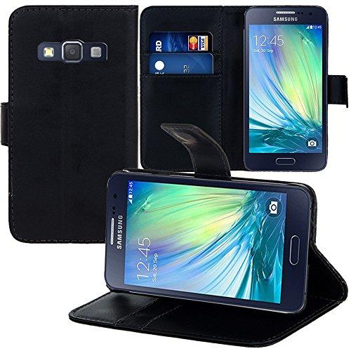 VCOMP Samsung Galaxy A3 SM-A300F/ a3 Duos (non compatibile Galassia a3 (2016)): Custodia portafoglio cuoio PU A libro falda supporto video - NERO