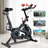 Gravdel Exercise Bike with APP Connection, 35 lbs Quiet Flywheel Max 300 lbs Indoor Cycling Bike, Stationary Bike Belt Drive, Adjustable Resistance, LCD Monitor, Comfortable Seat, Spin Bikes for Home Gym, Black