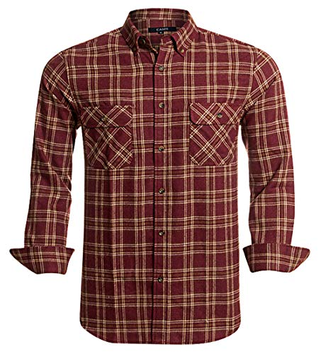 Flannel Shirts for Men Plaid Regular Fit Long Sleeve Button Down Mens Flannel Shirts,CAFL004,Large