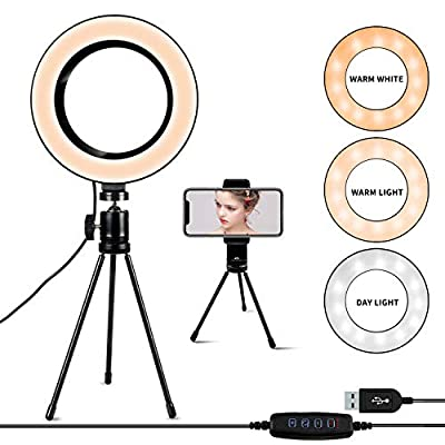 Ring Light [6.3 Inch] with Tripod Stand & Phone Holder,Dimmable 3 Light Modes Selfie Light,Camera Lights for YouTube/Photography/Makeup from TSJZZ