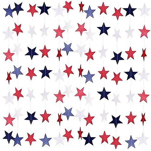 PiniceCore 8 Unidades Patriótico Estrella Serpentinas De Papel Garland Bunting Banner Decoraciones Colgantes