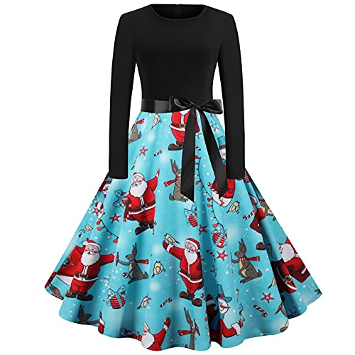Womens Ugly Christmas Xmas Dress Long Sleeve Casual Aline Party Dress(A-Black,Small)