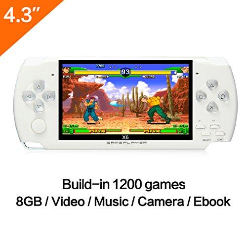 Spielkonsole, 10,9cm (4,3 Zoll) Display, 8GB, über 1200 echte Spiele ohne Wiederholung, unterstützte Spiele GBA/GBC/GB/SFC/FC/Sega, mit MP3/MP5,Kamera-Funktion
